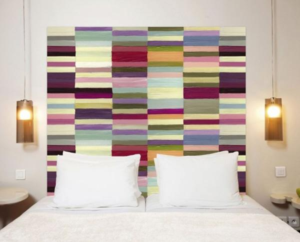 chic-colorful-modern-bed-headboard-ideas-using-white-bedding-plus-round-nightstand