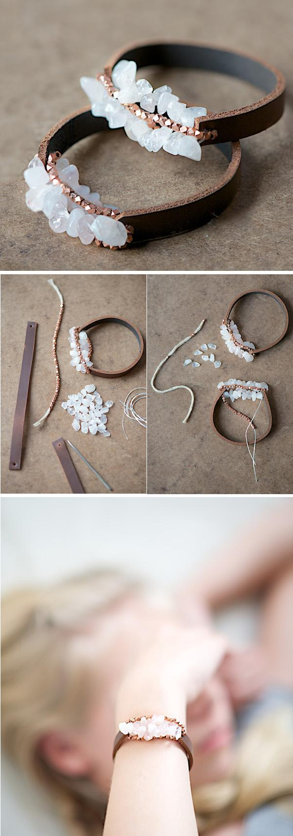 Easy Chunky Leather Bracelet Tutorial-16