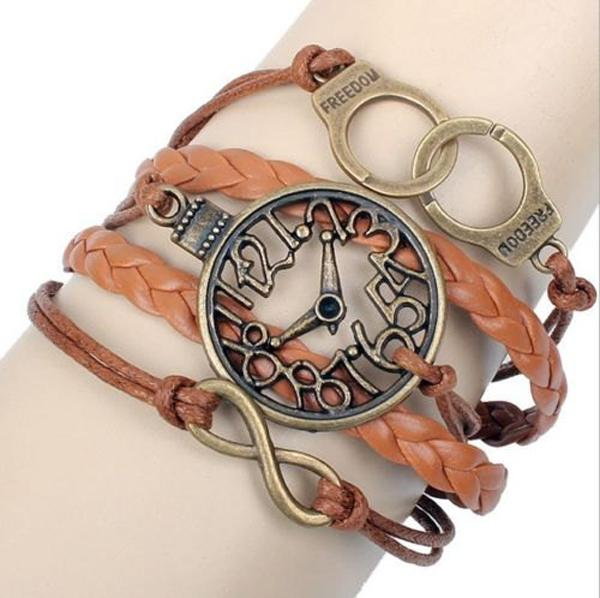 Friendship Bracelet Handcuffs Clock Leather Cute Charm Bracelet Bronze DIY-9
