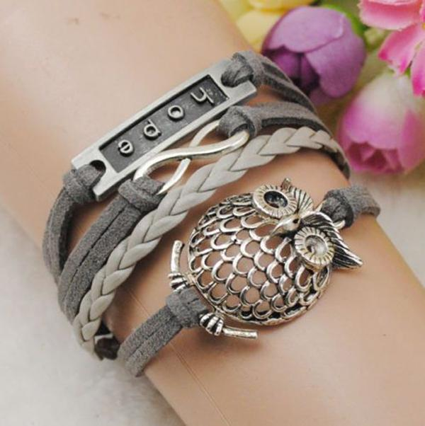 Infinity owl silver leather hope & friendship  bracelef-5