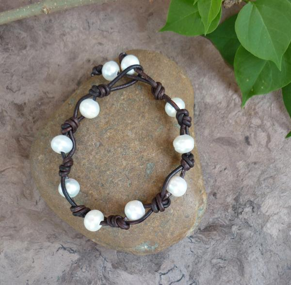 Leather and Freshwater Pearl Bracelet-8