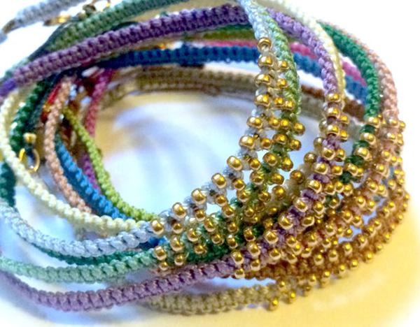 Set of 6 beaded macrame bracelets