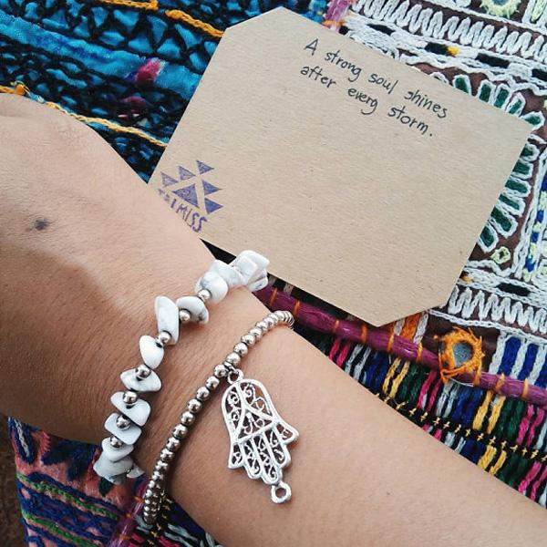 White and Silver Bohemian couple bracelet with Hamsa-15