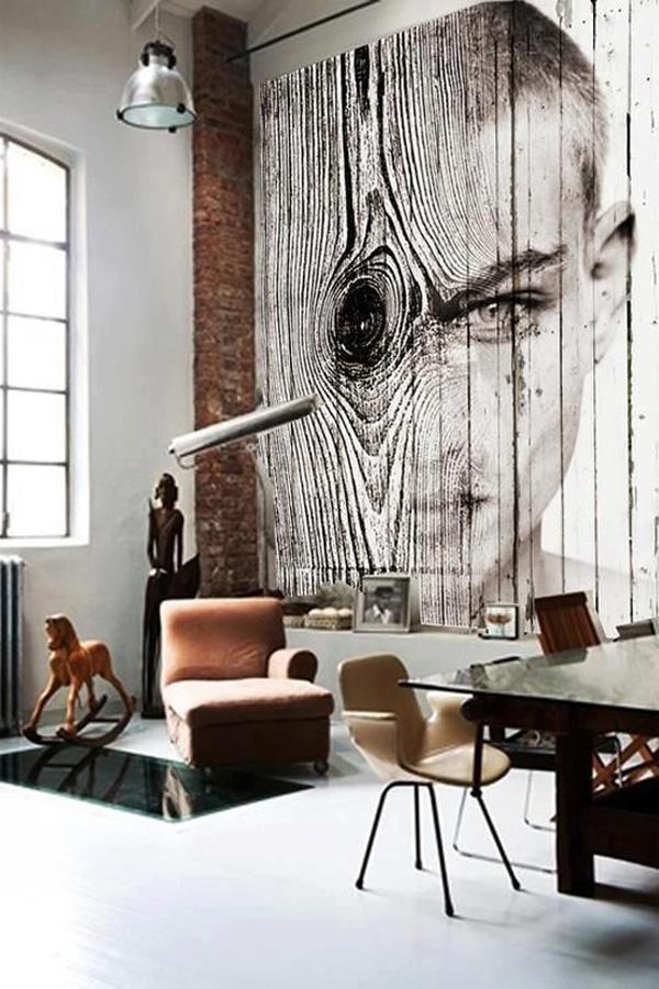 Дървесината на стената с интересен печат е достатъчно подробно, за тази стая. Това е една красива работно помещение за артистична душа. Фигури от прозореца са ефективни детайли, които са там, за да освежите бял цвят, който доминира.