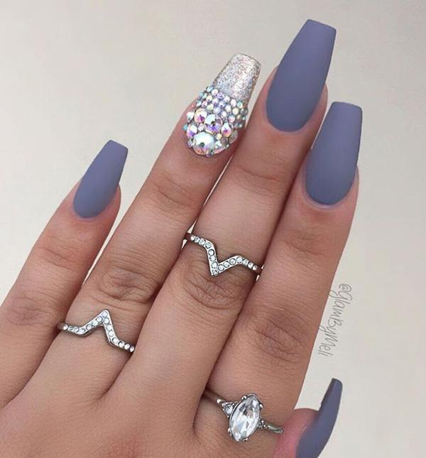 Another proof that glitter gel and rhinestones in combination with matte  color on the other nails ... - 50 Rhinestone Nail Art Ideas Art And Design