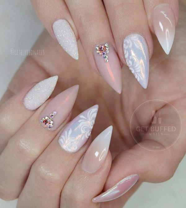 Almond Shape Of Nails Pastel Shades Beige Color Combined With White Will Make Your