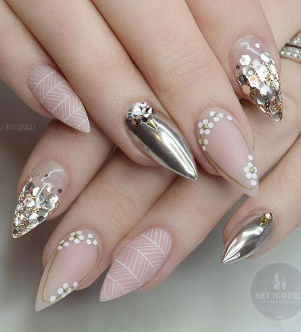 If all nails in metallic color are too much for you, then that color can ... - 50 Rhinestone Nail Art Ideas Art And Design