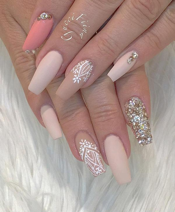 This is a sophisticated combination, rhinestones give an elegant look and  glamour to this combination ... - 50 Rhinestone Nail Art Ideas Art And Design