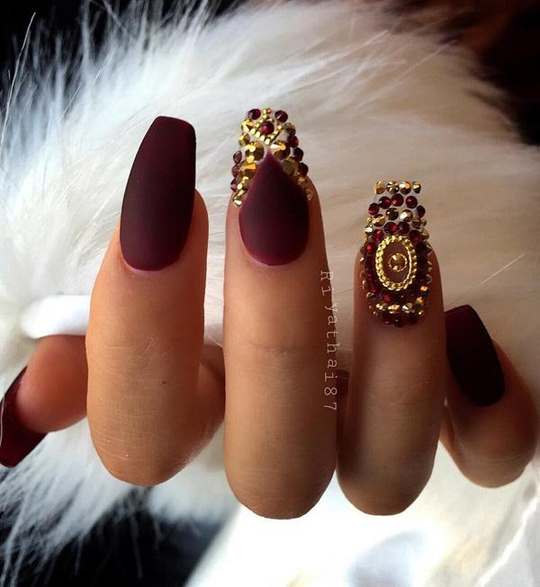 Matte Nails Are A Selection Of This Lady Also Kings Dark Red Color Is Always