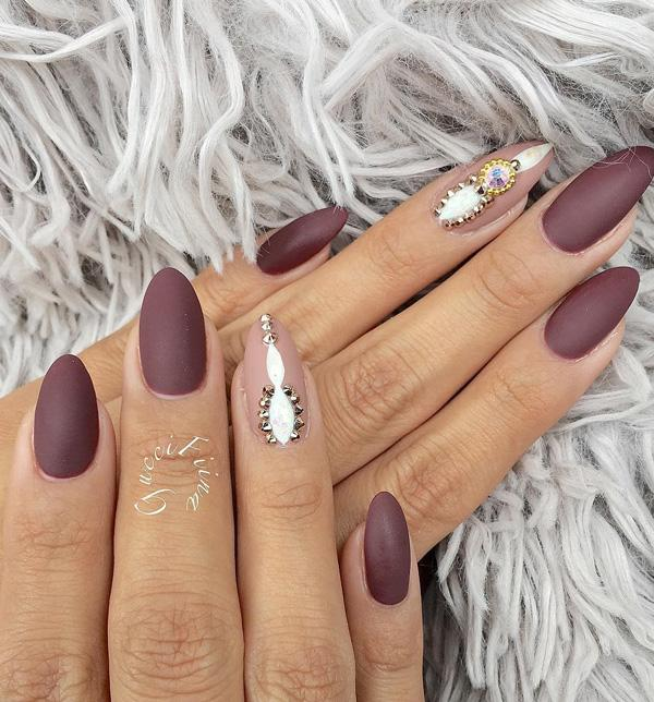 50 rhinestone nail art ideas art and design oval long nails are good for ladies with a wide nail plate because it will visually prinsesfo Image collections