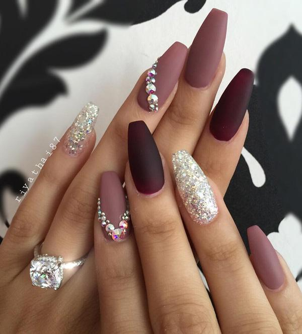 Here are nails done in various shades of purple. A special seal leaves the  glitter ... - 50 Rhinestone Nail Art Ideas Art And Design