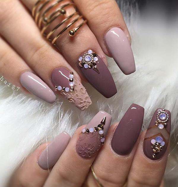 Embossed nails and nail parts with much rhinestones can be a very good  choice. - 50 Rhinestone Nail Art Ideas Art And Design