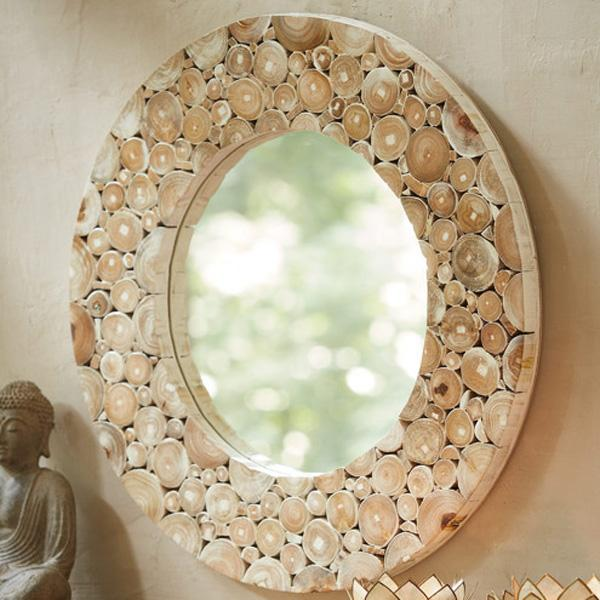 Amazoncom Salvaged Wood Wheel Mirror Natural Round