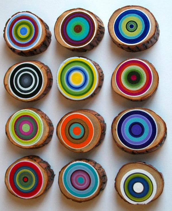 tree-ring-set-of-12-customize-your-colors-rustic-wood-vibrant-dimensional-unique-wall-decor