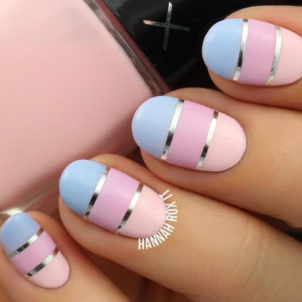 Colorful oval shaped manicure decided by golden stripes. - 50 Oval Nail Art Ideas Art And Design