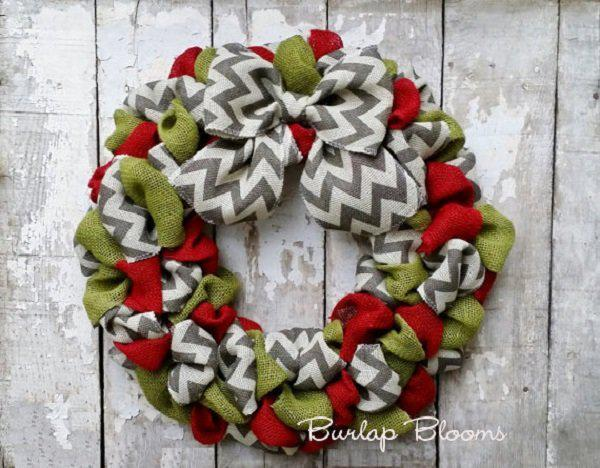 chevron-burlap-christmas-wreath