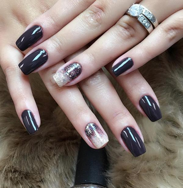 If you have a wide nails choose darker shades which can visually elongate  your wide nails ... - 60 Dark Nails For Winter Art And Design