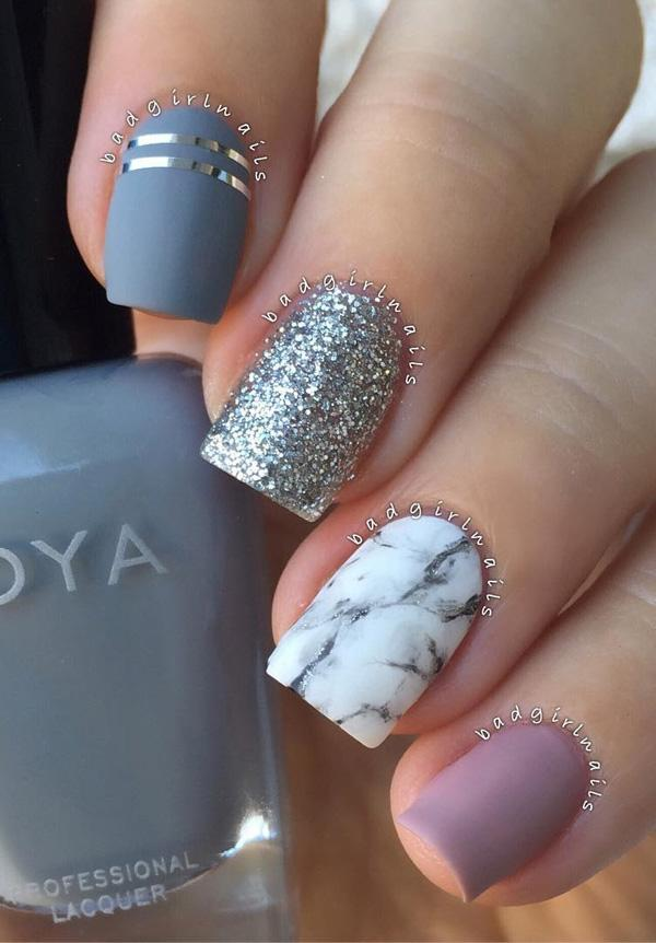 As we can see all nails are different but it isn't conspicuously. Colors  Pin It - 60 Dark Nails For Winter Art And Design