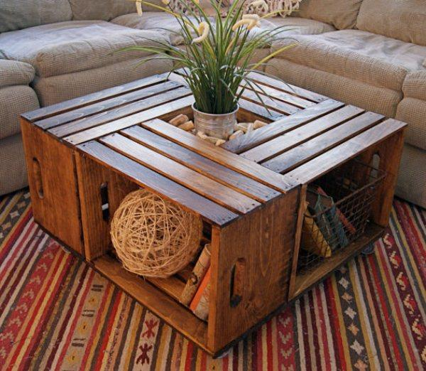 Simple Good ud do it yourself ud table Made of wooden boxes which are beautifully processed