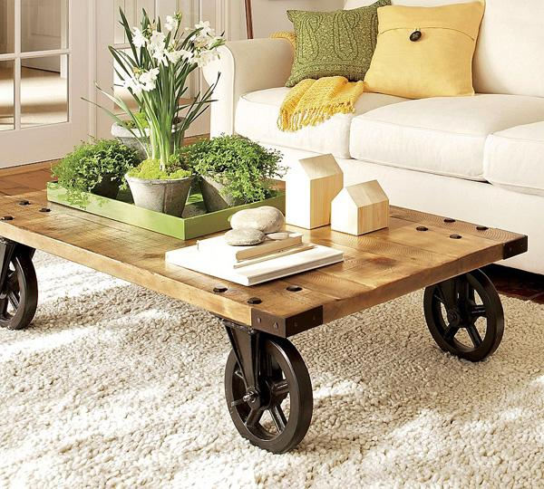 Popular Modern style spicy with rustic table and rustic pots in which are flowers