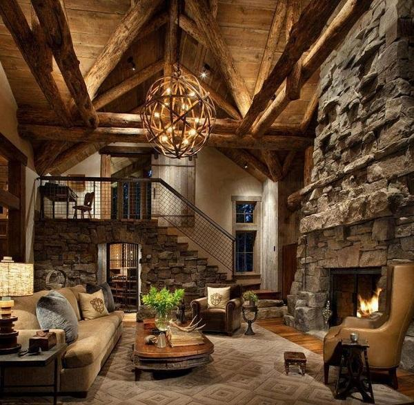earthy tones give an extra dose of warmth to this home except the burning fireplace - Rustic Interior Design Ideas