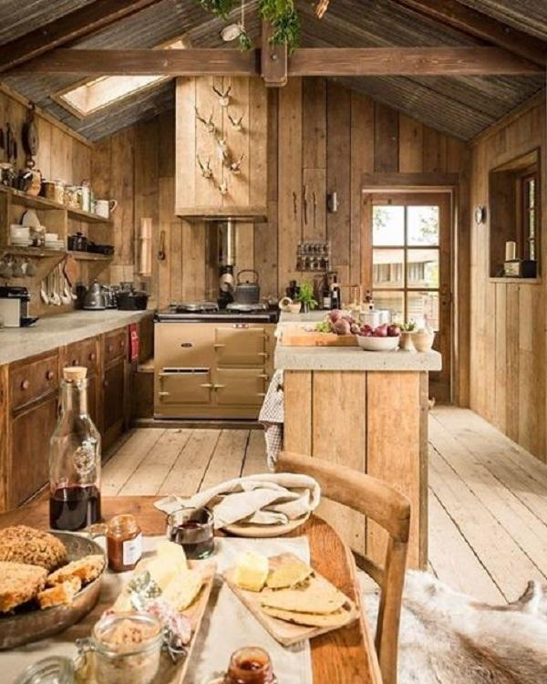 In Rustic Kitchen Dominate Parts Of Real Wood Which Have Style And Are  Functional.