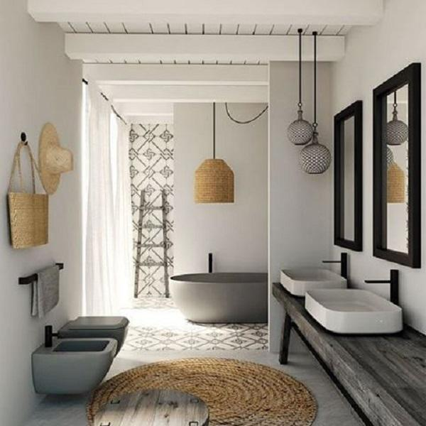 The Mat In Bathroom Made Of Woven Wood Bamboo Or Rattan
