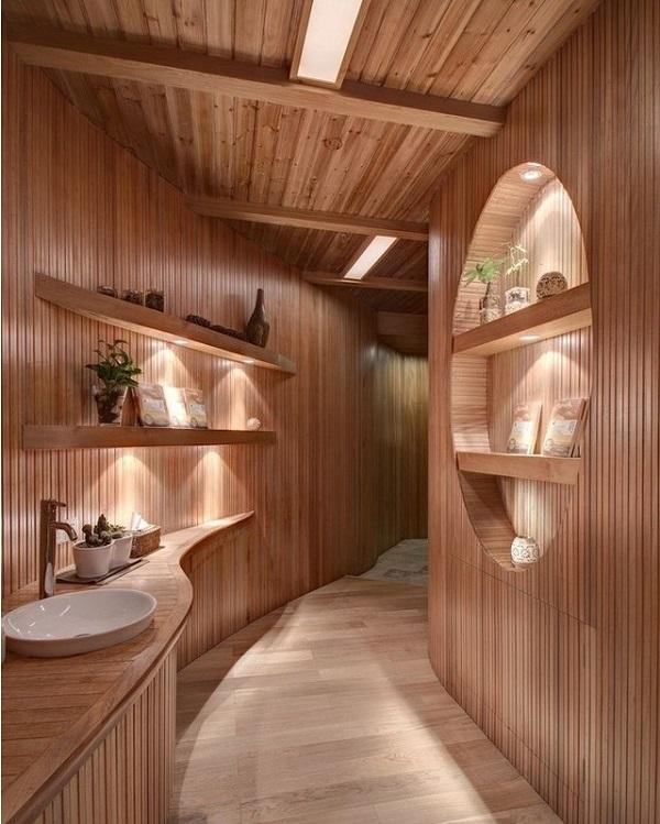 For The Decoration Of This Bathroom Was Exploited Nicely Processed Wood