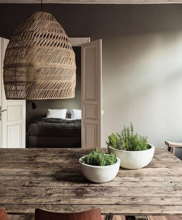 Modern style that characterizes minimalism can be nicely combined with a rustic design