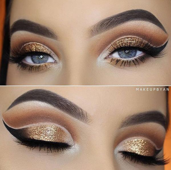 Это правильный выбор для Eye shadow. Противоположный цвет глаз, металлические оттенки освежает внешний вид и глаз красиво очерчен с подводкой для глаз и темной тенью.