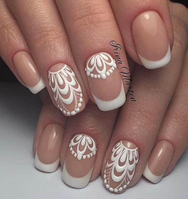 45 chic classy nail designs art and design eternal french manicure with beautiful painted detail on two fingers of both hands prinsesfo Image collections