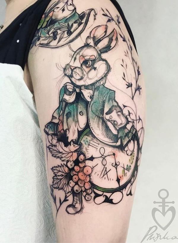 兔子纹身线稿分享展示