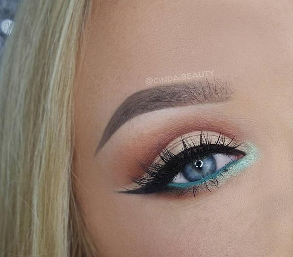 For blue-eyed girls the best are copper color, smokey eyes, dark gray, purple eye shadow …