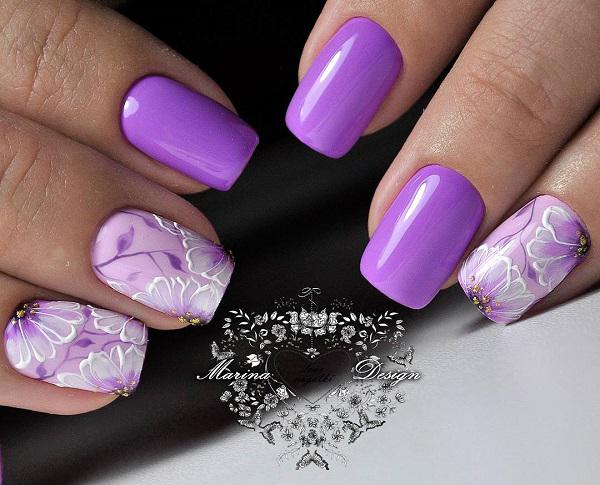 Nails may be a small canvas on which the professionals from the world of  manicures will ... - 45 Purple Nail Art Designs Art And Design