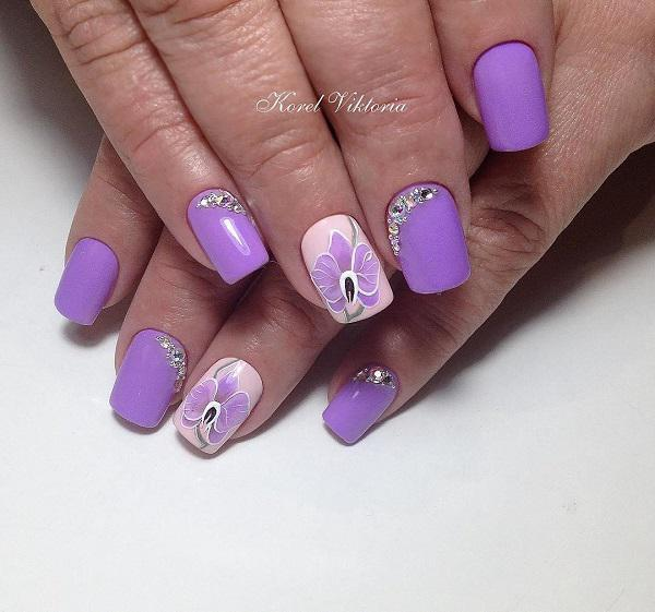 Adequate length of the nail is very important for every working woman. - 45 Purple Nail Art Designs Art And Design