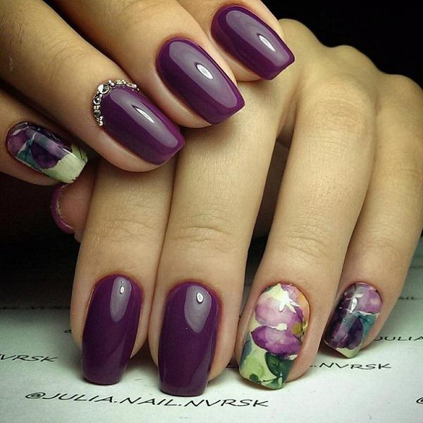 45 purple nail art designs art and design silver zircons are equally effective detail as drawn details on the other three nail prinsesfo Gallery