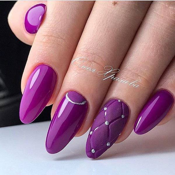 Draw on the occasional nails design that is interesting, add a silver line  and silver ... - 45 Purple Nail Art Designs Art And Design