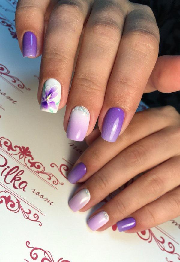 If you are unsure in what color to paint the nails, look meaning of colors  ... - 45 Purple Nail Art Designs Art And Design