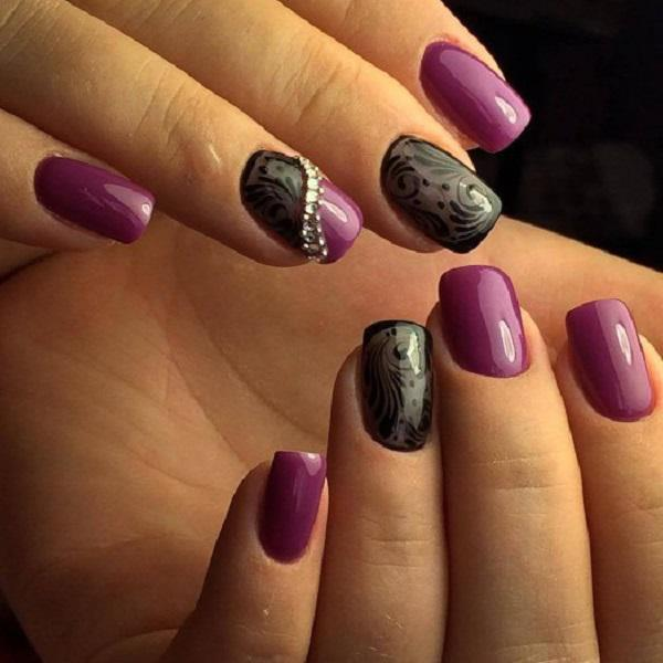 The elegant patterns in an elegant black color will be a beautiful  decoration of your purple ... - 45 Purple Nail Art Designs Art And Design