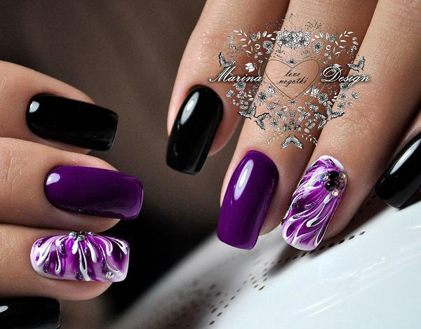 Black is always in fashion. Black can be easily combined so that  professionals from the ... - 45 Purple Nail Art Designs Art And Design