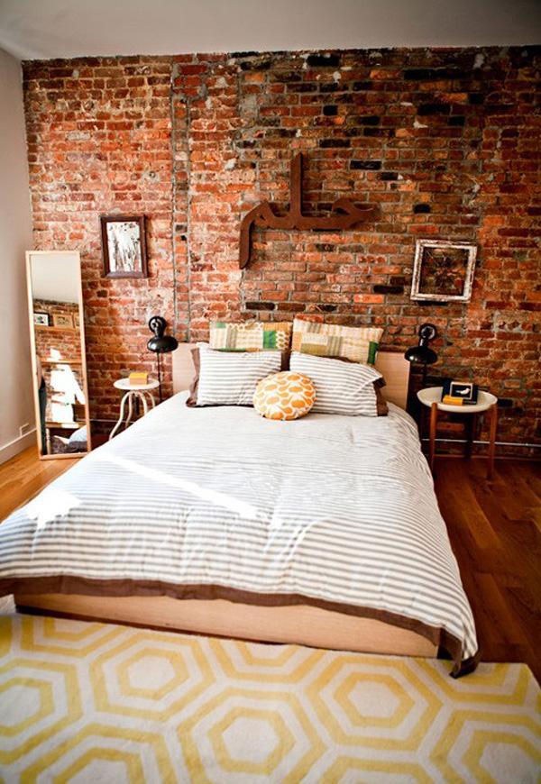 Znalezione obrazy dla zapytania brick walls interior bedroom