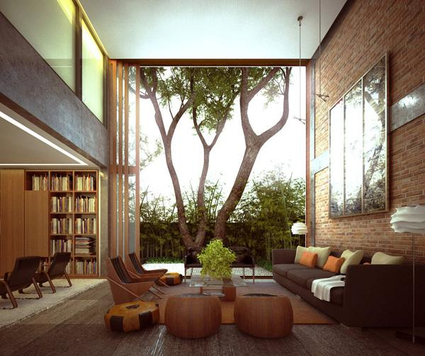 Very Beautiful And Sumptuous Home In Which Only One Wall Is Decorated With Brick