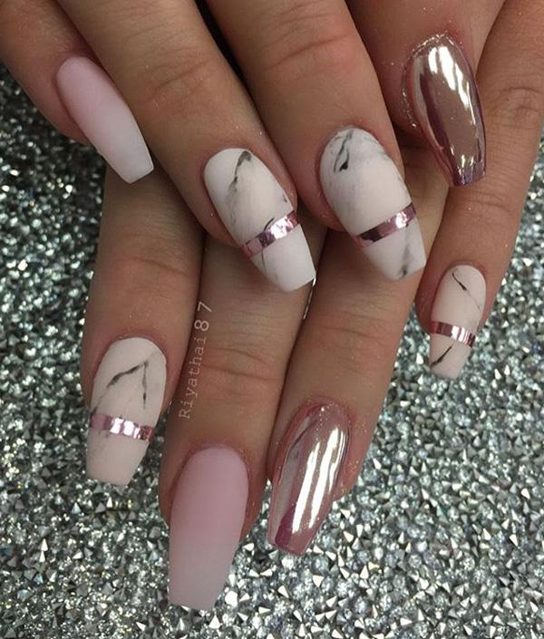 55 chrome nail art ideas art and design here is a combination of matte color in marble design with glossy paint on one nail solutioingenieria Image collections