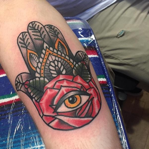 5ec2a70224cc3 The tattoo on the inner part of the arm often occurs among hamsa tattoos.