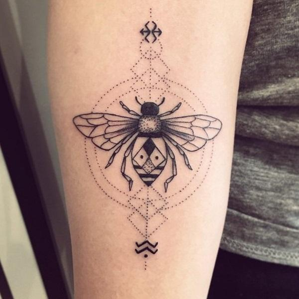 b0a11f9d5 Dotted Black Bee Tattoo. The tribal bee serves the important role in our  life.