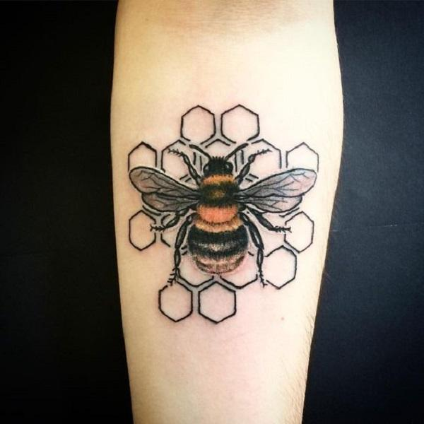 bb5b2892b The HoneyComb Maze Bee Tattoo Design. This detailed honeycomb maze bee  tattoo design is definitely the perfect piece for your forearm.