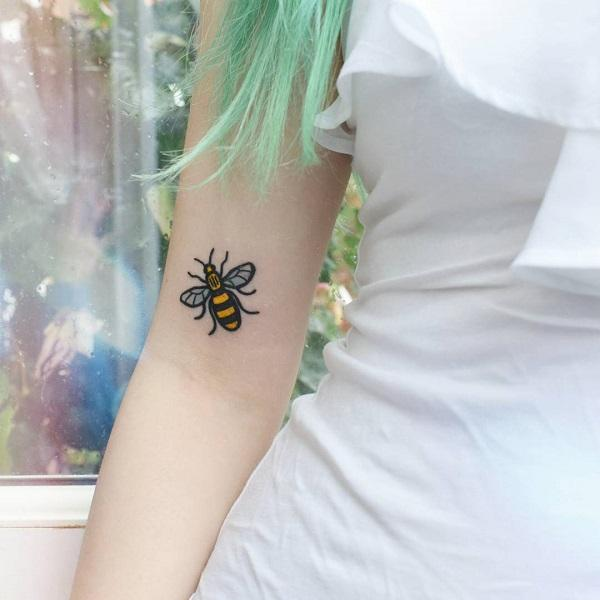 501bbce7f This cute Upper arm Bee Tattoo. This bold honey bee is perfect for you if  ...