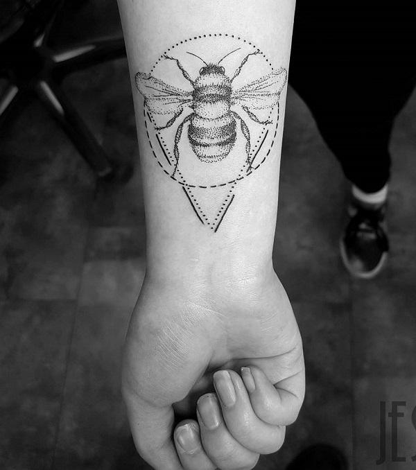 af5ca8485 The Perfect Dotted Bee Tattoo Design. The dot work tattoos are perfect for  the geometric ...