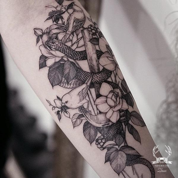 a191ca6e73385 Flower with bird and snake tattoo - 60 SNAKE TATTOO IDEAS ...