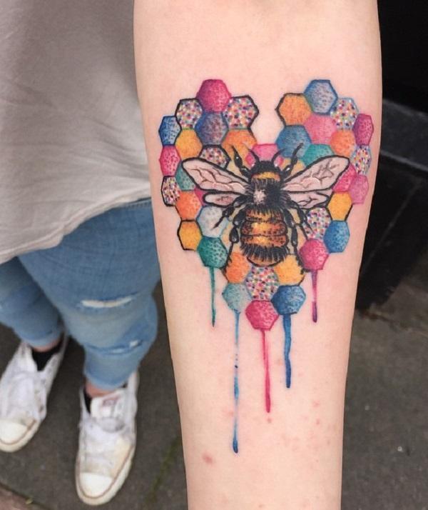 d6fde646d Watercolor bee tattoo on sleeve - 75 Cute Bee Tattoo Ideas ...